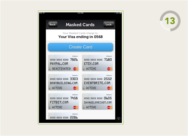 View of MaskMe Mobile Masked Cards