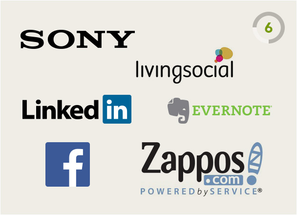 LinkedIn Facebook Zappos Evernote LivingSocial and Sony