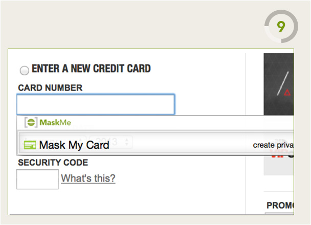 MaskMe Masked Cards Feature