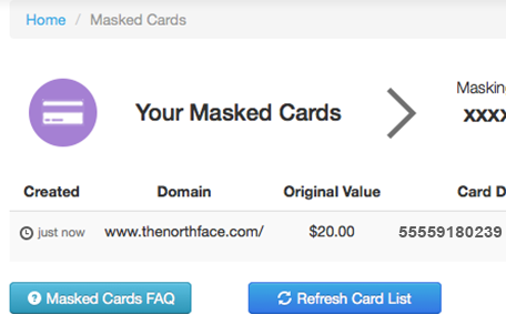 Masked Cards Accounts